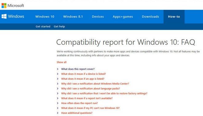 Compatibility Report for Windows 10: FAQ