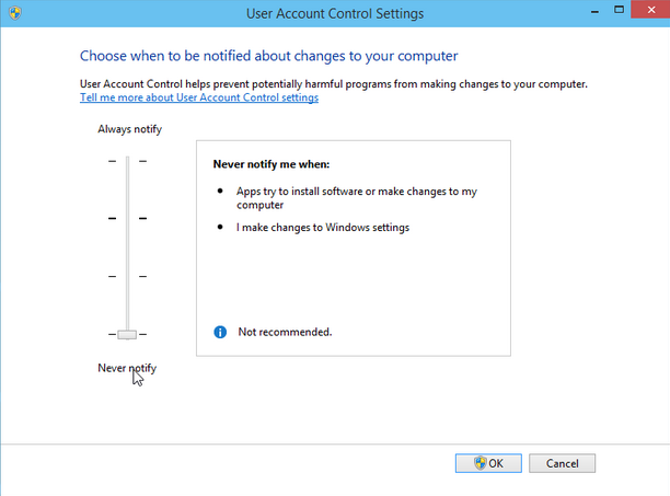 Change User Account Control in Windows 10