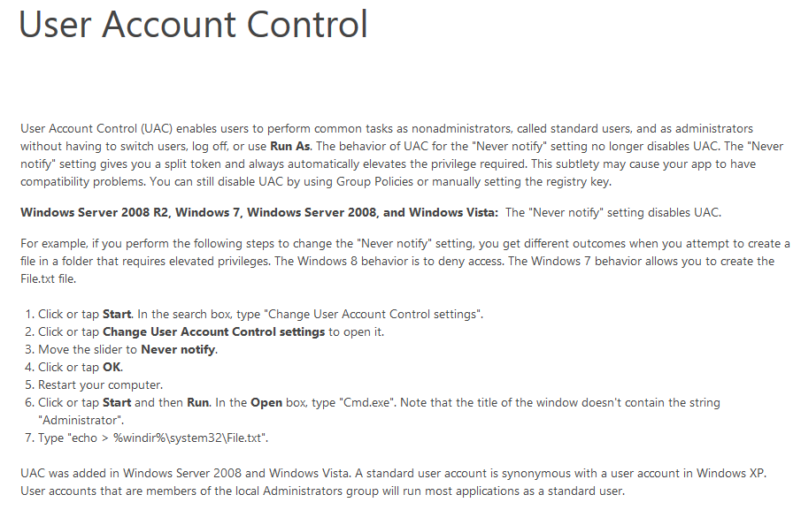 Example User Account Control in Windows 10