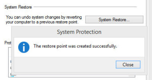 The restore point was created successfully