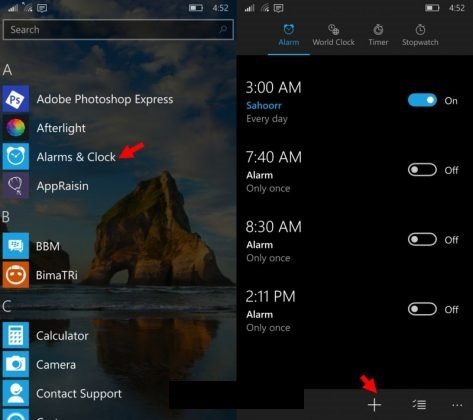 alarms windows 10 mobile
