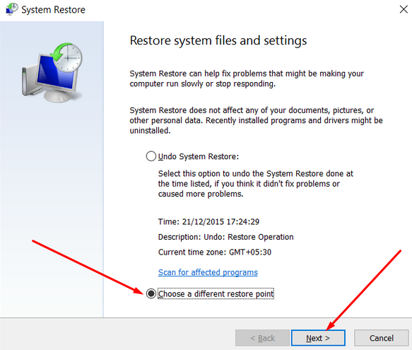 different system restore point