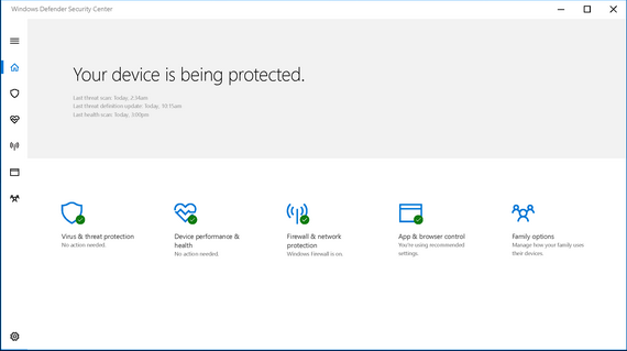 New Windows Defender Security Center