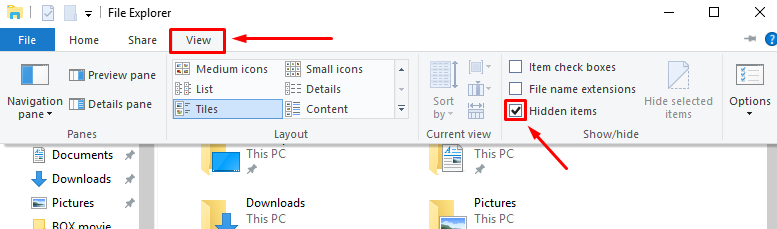 open file explorer then click view then check the hidden items section to display the hidden folder this is necessary because the appdata folder is by