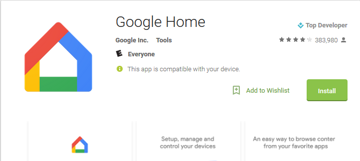 Download Google Home App for Windows 10