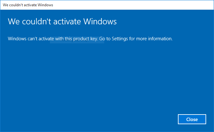 Can't Activate Windows 10
